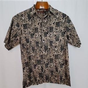Tori Richard Black Tan Floral Print Hawaiian Shirt